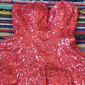 Sequin Coral Prom Dress
